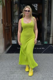 Iskra Lawrence in Green Long Dress - Out and about in Paris