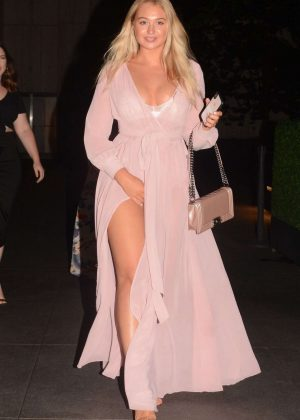 Iskra Lawrence in Long Dress - Night Out in New York