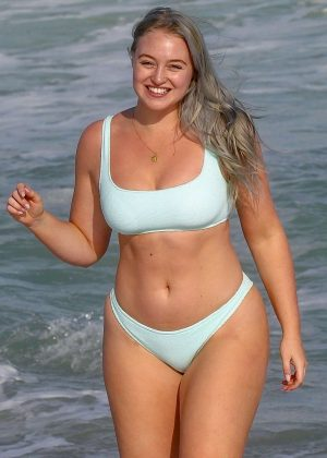 Iskra Lawrence in Pastel Bikini on the beach in Miami