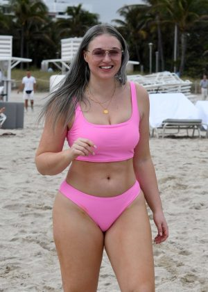 Iskra Lawrence in Pink Bikini at the beach in Miami