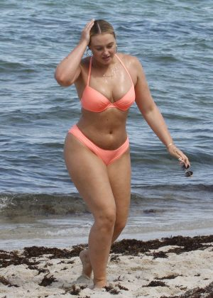 Iskra Lawrence in Pink Bikini on the beach in Miami