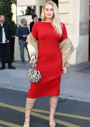 Iskra Lawrence in Red Dress at Paris Fashion Week in Paris