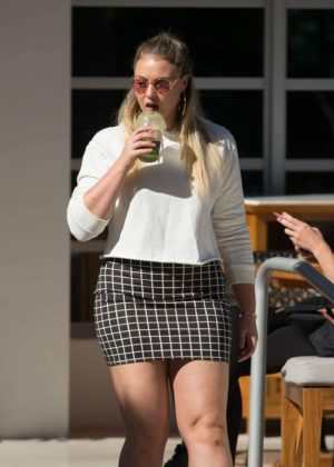 Iskra Lawrence in Short Skirt - Leaves her hotel in Miami