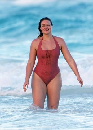 Iskra Lawrence in Swimsuit on the beach in Tulum