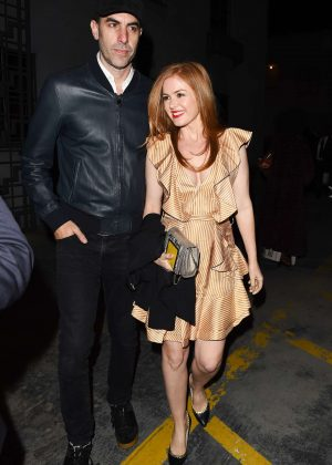 Isla Fisher Attends Elton John's 70th Birthday Party in Los Angeles