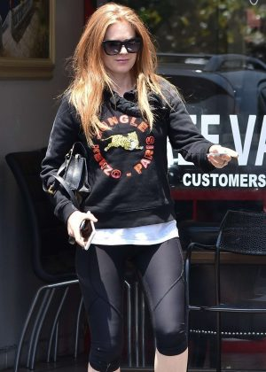 Isla Fisher in Leggings out in Los Angeles