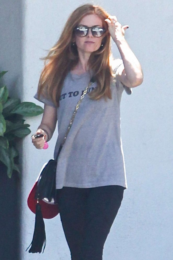 Isla Fisher in Tights Leaving the salon in Beverly Hills