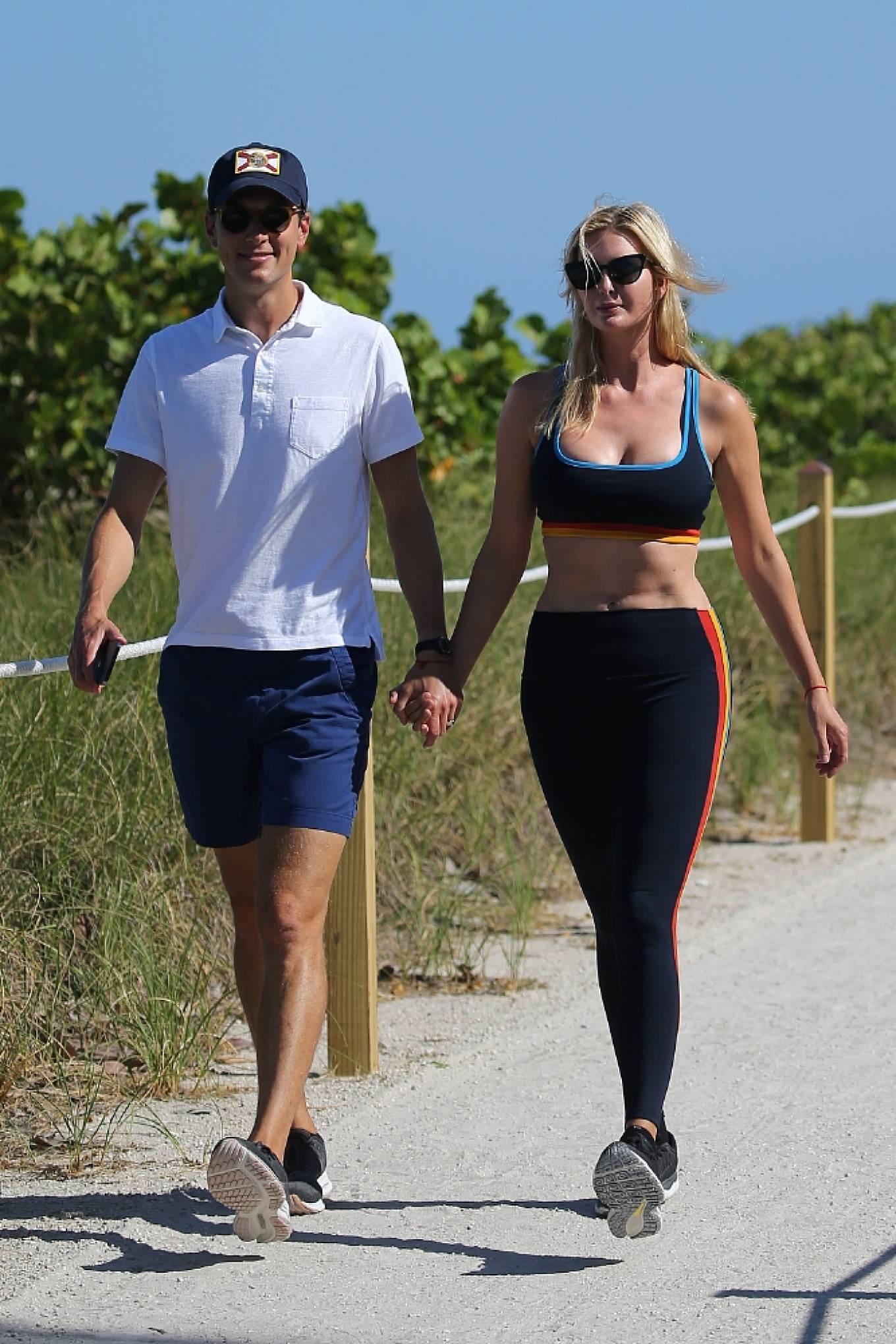 Ivanka Trump 2021 : Ivanka Trump – in a sports bra and leggings with husband Jared Kushner in Miami-02