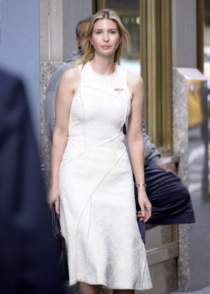 Ivanka Trump in Beige Dress Out in New York