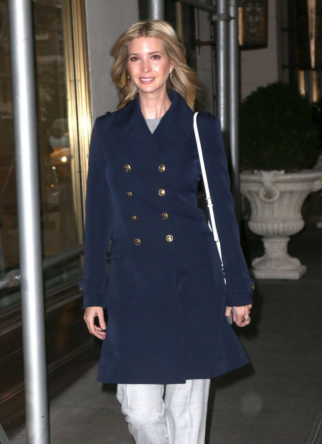 Ivanka Trump in Blue Coat out in New York City