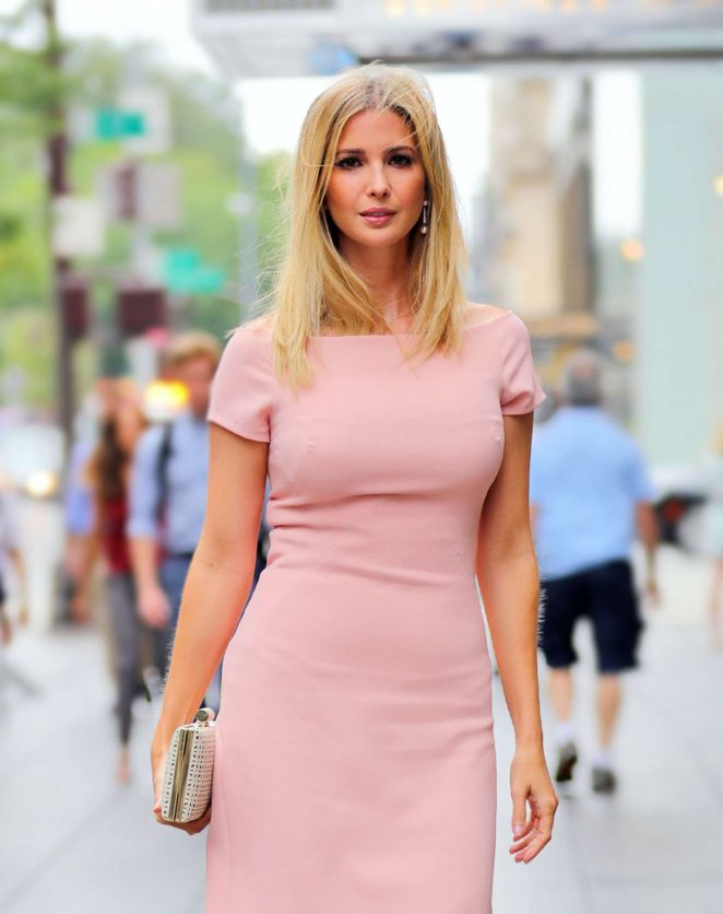 Ivanka Trump in Peach Dress out in New York