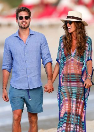 Izabel Goulart and Kevin Trapp on the beach in Saint Barthelemy