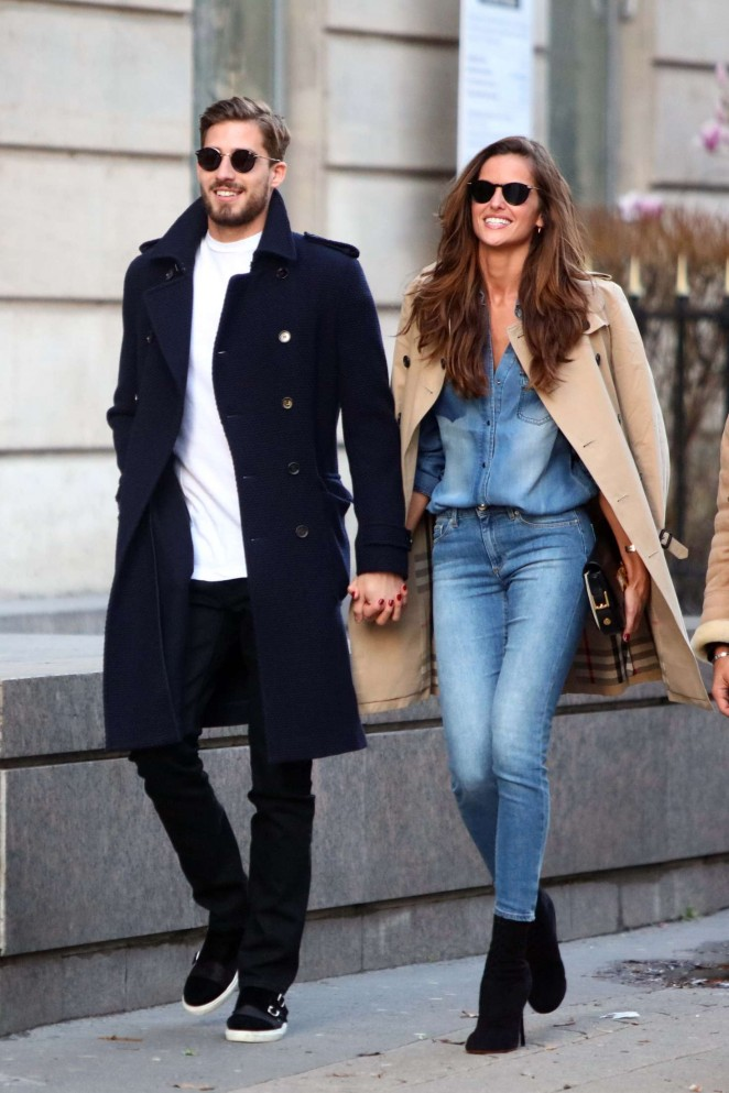 Izabel Goulart and Kevin Trapp out in Paris