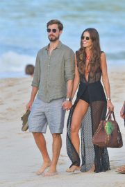 Izabel Goulart and Kevin Trapp - Walking at a beach in St Barth