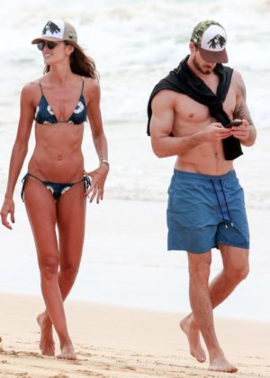 Izabel Goulart in Bikini and Kevin Trapp on the beach in Fernando de Noronha