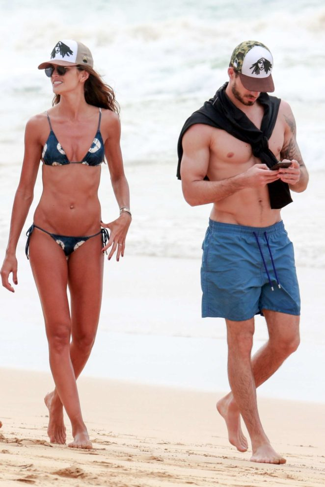 Izabel Goulart in Bikini and Kevin Trapp on the beach in Fernando de Noronha