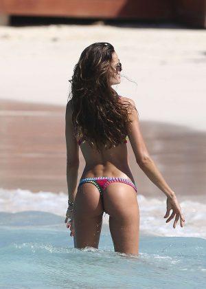 Izabel Goulart in Bikini at the beach in St Barts