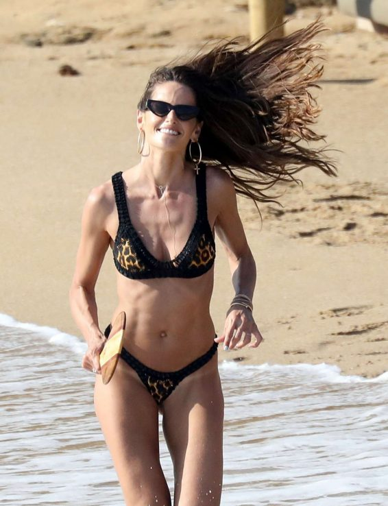 Izabel Goulart in Bikini on the beach in Mykonos