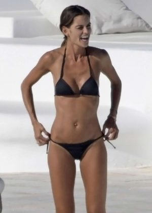 Izabel Goulart in Black Bikini in Mykonos