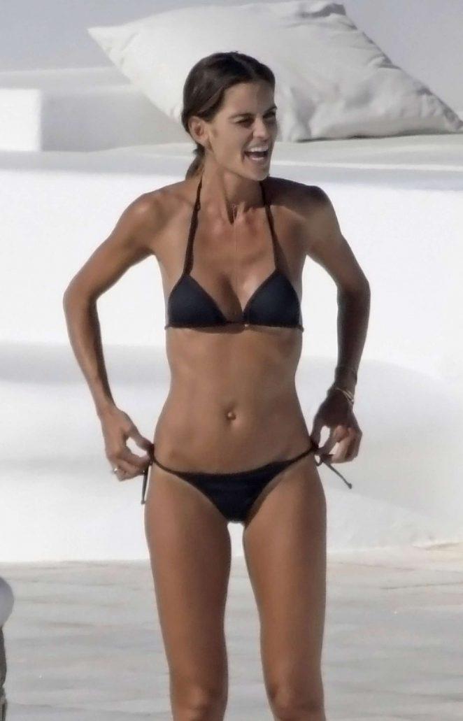 Izabel Goulart in Black Bikini in Mykonos