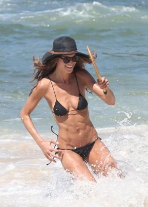 Izabel Goulart in Black Bikini 2016 -37