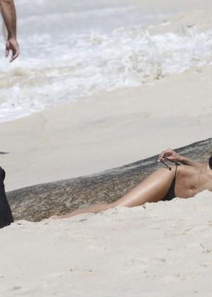 Izabel Goulart in Black Bikini 2016 -54