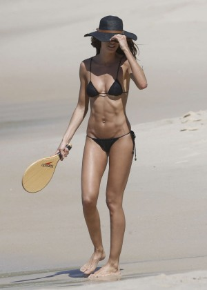 Izabel Goulart in Black Bikini 2016 -56