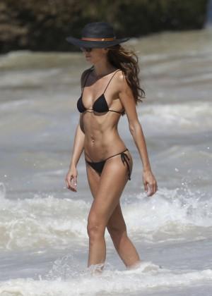 Izabel Goulart in Black Bikini 2016 -57
