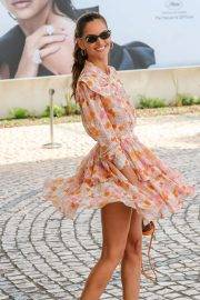 Izabel Goulart in Floral Print Dress at the Martinez Hotel in Cannes