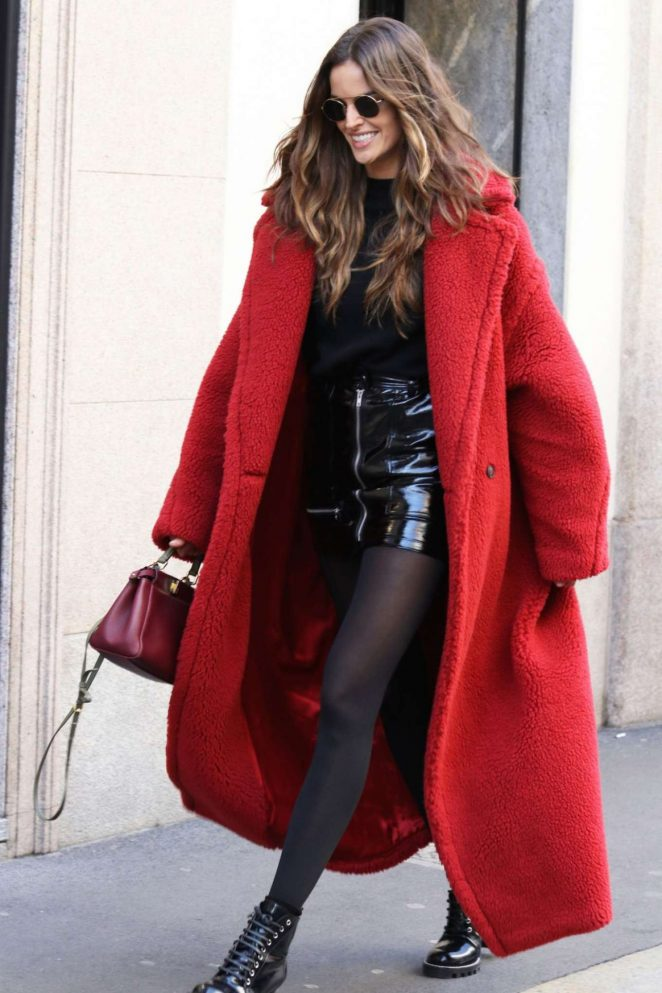 Izabel Goulart in Long Red Coat Out in Milan