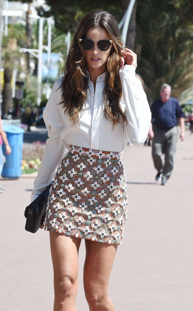 Izabel Goulart in Mini Skirt Out in Cannes