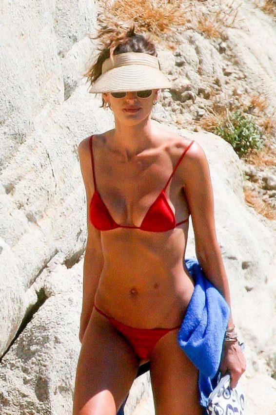 Izabel Goulart in Red Bikini in Mykonos