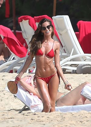 Izabel Goulart in Red Bikini on the beach of St Bart