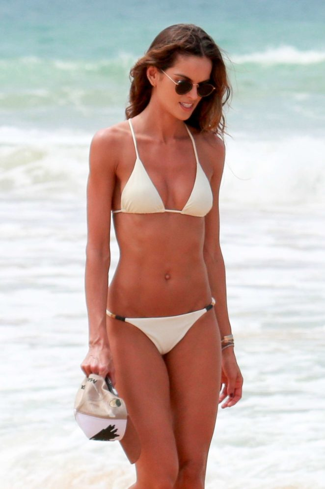 Izabel Goulart in White Bikini on the beach in Fernando de Noronha