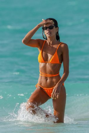 Izabel Goulart - on the beach in St. Barts