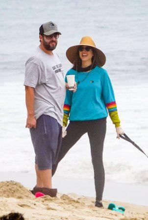 Jackie and Adam Sandler - Enjoying a beach day in Malibu