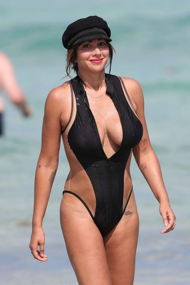 Jackie Cruz in Black Swimsuit on the beach in Miami