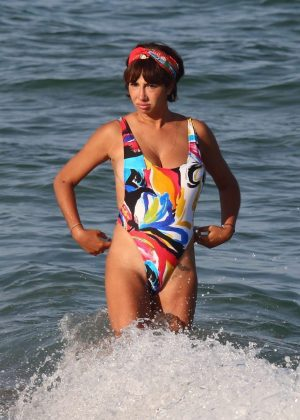 Jackie Cruz in Swimsuit on the beach in Barcelona