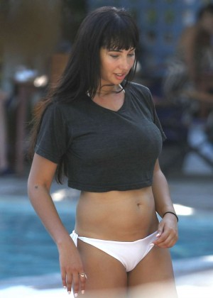 Jackie Cruz in White Bikini at a pool in Miami