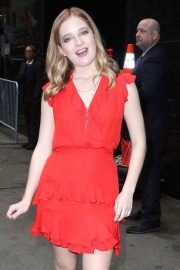 Jackie Evancho in Red Dress - Arrives at Good Morning America in NY