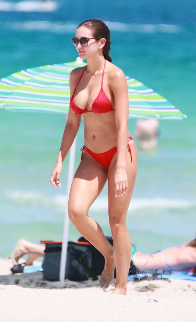 Jaclyn Swedberg - Red Bikini Candids in Miami