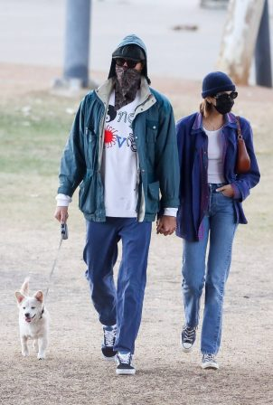 Jacob Elordi and Kaia Gerber - hold hands in a park in Los Angeles