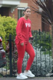 Jacqueline Jossa in Red Tracksuits - Out in London