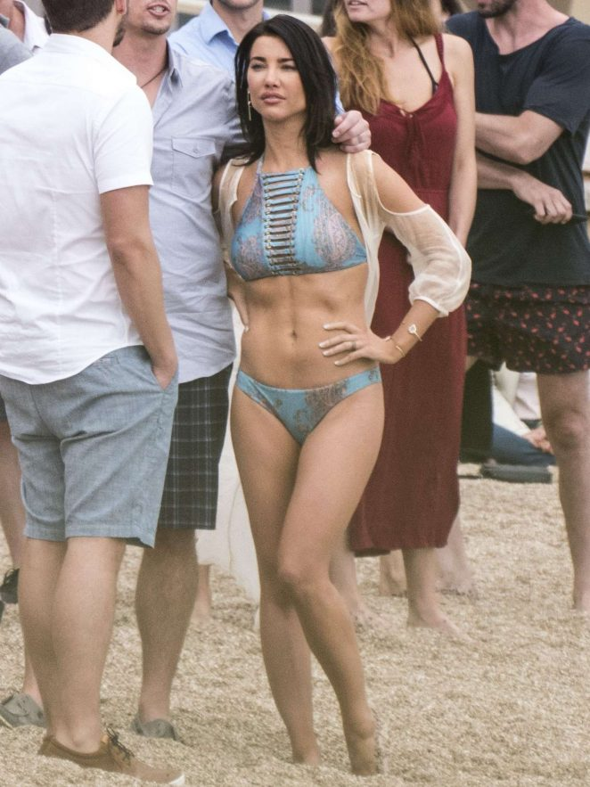 Jacqueline MacInnes Wood in Bikini Filming 'The Bold and The Beautiful' in Monte Carlo