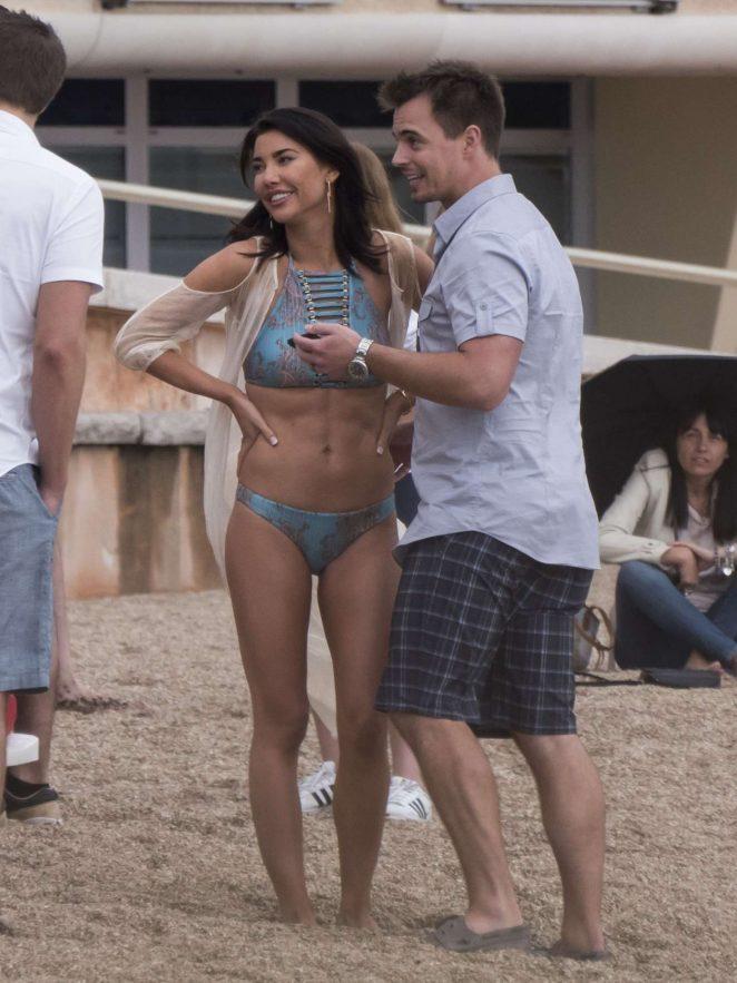 Jacqueline MacInnes Wood in Bikini Filming The Bold and The Beautiful -06