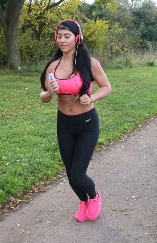Jacqui Ryland in Tights and Sports Bra Working Out in Birmingham