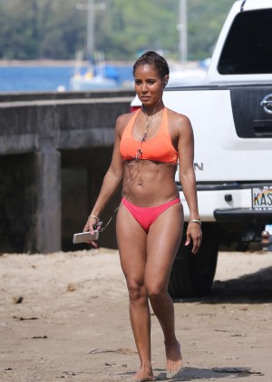 Jada Pinkett Smith in Red Bikini in Hawaii