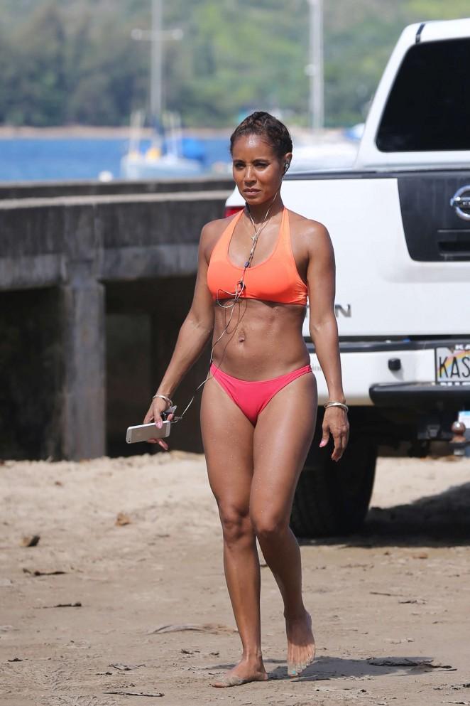 Jada Pinkett Smith in Red Bikini in Hawaii