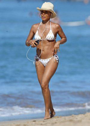 Jada Pinkett Smith in White Bikini at a Beach in Hawaii