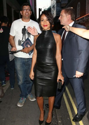 Jada Pinkett Smith in Leather Dress at The Ivy in London